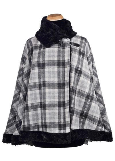 Classic Cape, Reversible - Wool Plaid with Cuddly Faux Fur (Limited Availability)