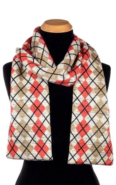 Pandemonium Millinery Classic Scarf -  Argyle in Candied Apple with Cuddly Faux Fur (Only One Available) Argyle Candied Apple / Cuddly Black Scarves
