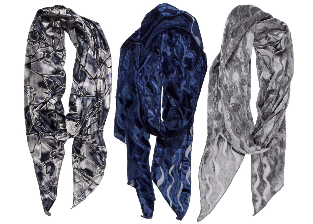 Classic Scarf - Burnout Velvet in Baltic Sea Handkerchief Scarves Pandemonium Millinery