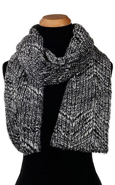 Classic Scarf - Cozy Cable in Ash Faux Fur Skinny / Cozy Cable in Ash Scarves Pandemonium Millinery