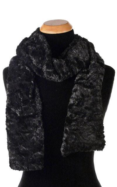 Classic Scarf - Cuddly Faux Fur (Stone - Limited Availability) Skinny / Black Scarves Pandemonium Millinery