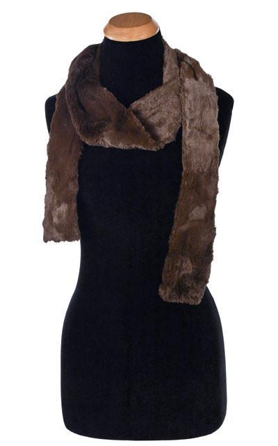 Classic Scarf - Cuddly Faux Fur (Stone - Limited Availability) Skinny / Chocolate Scarves Pandemonium Millinery