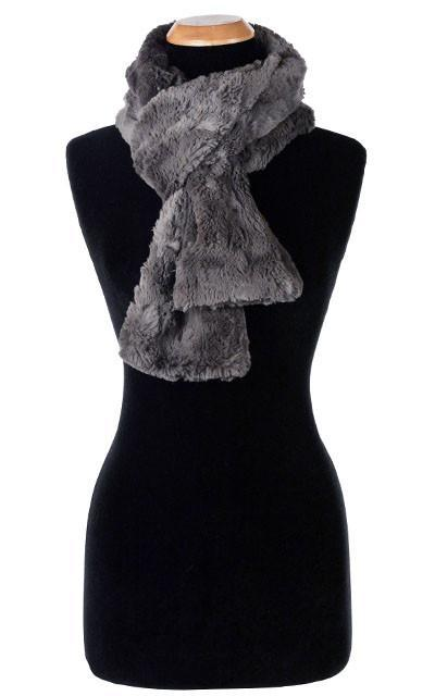 Classic Scarf - Cuddly Faux Fur (Stone - Limited Availability) Skinny / Gray Scarves Pandemonium Millinery