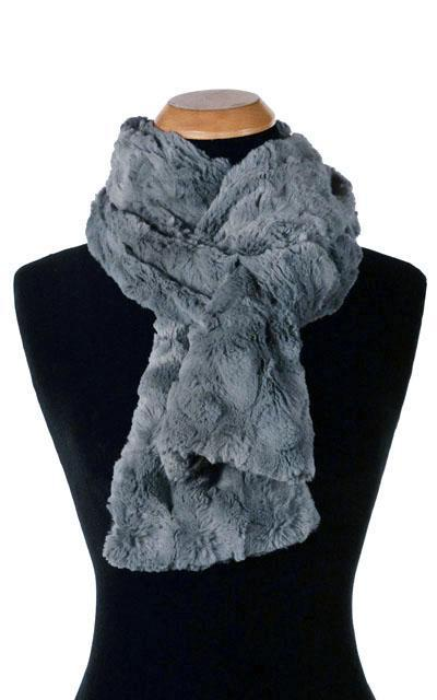 Classic Scarf - Cuddly Faux Fur (Stone - Limited Availability) Skinny / Slate Scarves Pandemonium Millinery