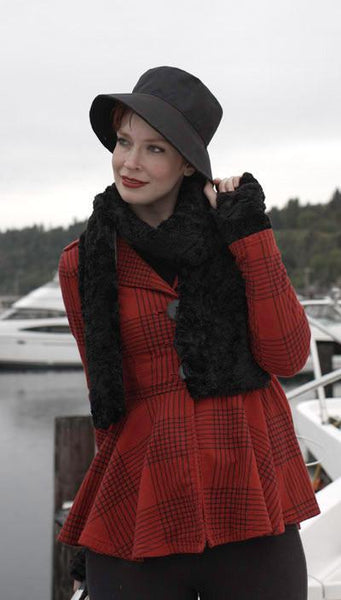 Classic Scarf - Cuddly Faux Fur (Stone - Limited Availability) Standard / Black Scarves Pandemonium Millinery