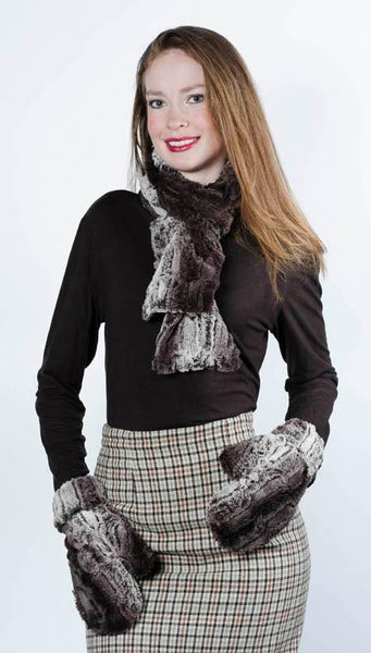 Classic Scarf - Luxury Faux Fur in Chinchilla Brown Standard / Chinchilla Brown Scarves Pandemonium Millinery