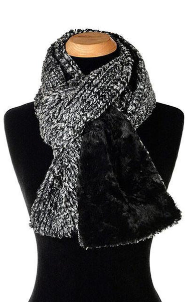 Classic Scarf - Two-Tone, Cozy Cable in Ash Faux Fur Standard / Cozy Cable in Ash / Cuddly Black Scarves Pandemonium Millinery