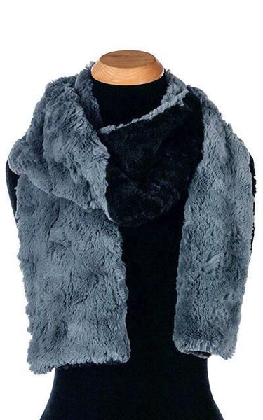 Classic Scarf - Two-Tone, Cuddly Faux Fur in Black (One Standard with Stone Left!) Standard / Black / Slate Scarves Pandemonium Millinery