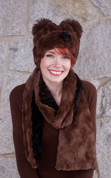 Classic Scarf - Two-Tone, Cuddly Faux Fur in Chocolate Standard / Chocolate / Sand Scarves Pandemonium Millinery