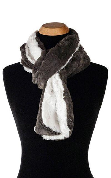 Classic Scarf - Two-Tone, Cuddly Faux Fur in Gray Standard / Gray / Ivory Scarves Pandemonium Millinery