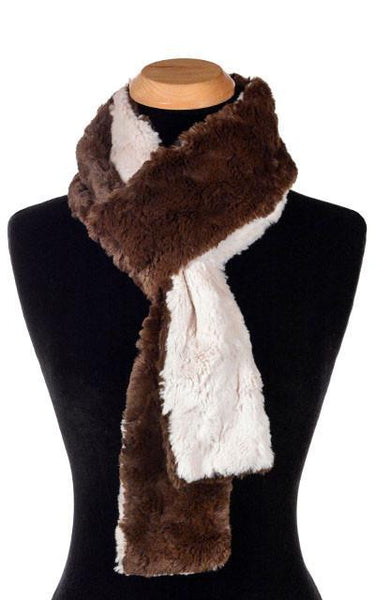 Pandemonium Millinery Classic Scarf - Two-Tone, Cuddly Faux Fur in Sand Skinny / Sand / Slate Scarves