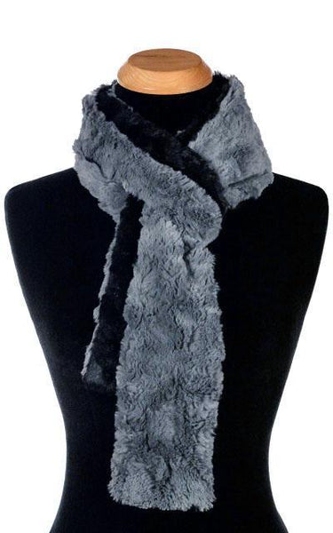 Classic Scarf - Two-Tone, Cuddly Faux Fur in Slate Skinny / Slate / Black Scarves Pandemonium Millinery