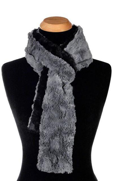 Classic Scarf - Two-Tone, Cuddly Faux Fur in Stone (Limited Availability / Ivory Combos - SOLD OUT) Skinny / Stone / Black Scarves Pandemonium Millinery