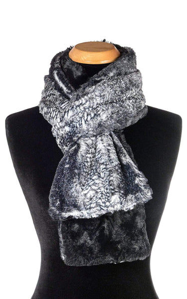 Pandemonium Millinery Classic Scarf - Two-Tone, Luxury Faux Fur in Black Mamba Standard / Black Mamba / Cuddly Black Scarves