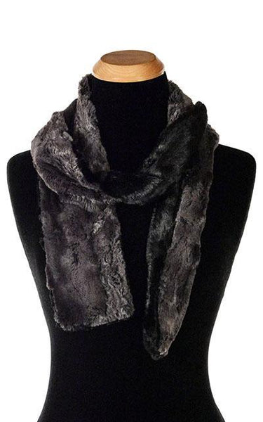 Classic Scarf - Two-Tone, Luxury Faux Fur in Espresso Bean Standard / Espresso Bean / Black Scarves Pandemonium Millinery