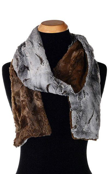 Classic Scarf - Two-Tone, Luxury Faux Fur in Giant's Causeway Skinny / Giant's Causeway / Chocolate Scarves Pandemonium Millinery