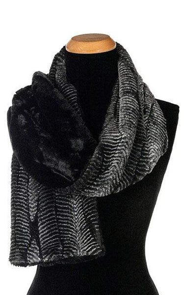 Pandemonium Millinery Classic Scarf - Two-Tone, Luxury Faux Fur in Nightshade Standard / Nightshade / Cuddly Black Scarves