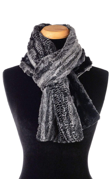 Pandemonium Millinery Classic Scarf - Two-Tone, Luxury Faux Fur in Rattle N Shake Standard / Rattle N Shake / Cuddly Black Scarves