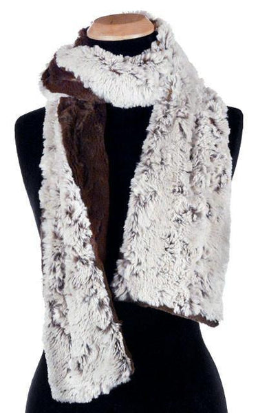 Classic Scarf - Two-Tone, Luxury Faux Fur in Stratus (Silver Stratus - SOLD OUT) Skinny / Sienna / Chocolate Scarves Pandemonium Millinery