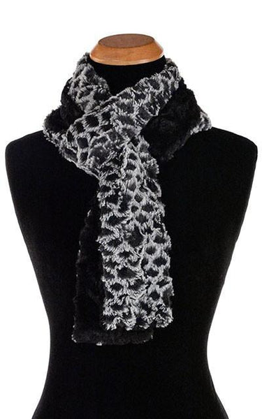 Classic Scarf - Two-Tone, Luxury Faux Fur in Snow Owl Skinny / Snow Owl / Black Scarves Pandemonium Millinery