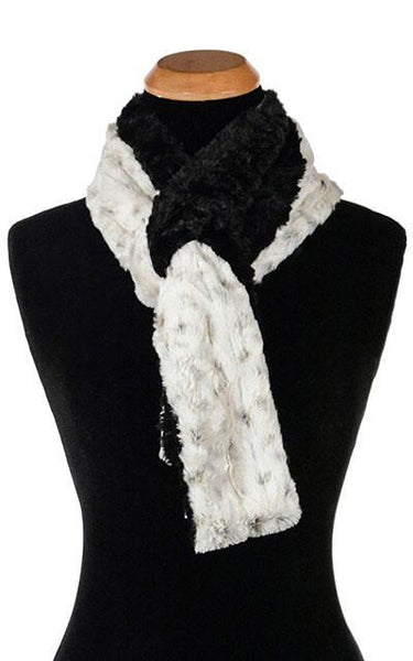 Classic Scarf - Two-Tone, Luxury Faux Fur in Winters Frost Skinny / Winters Frost /Black Scarves Pandemonium Millinery
