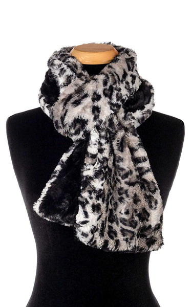 Pandemonium Millinery Classic Scarf - Two-Tone, Luxury Faux Fur Savannah Cat in Gray Standard / Savannah Cat in Gray / Cuddly Black Scarves