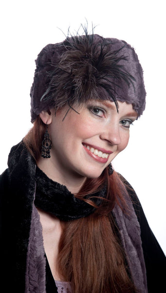 Pandemonium Millinery Classic Scarf - Two-Tone, Minky Faux Fur in Mauve (TWO STANDARD, ONE SKINNY LEFT!) Skinny / Mauve / Black Scarves