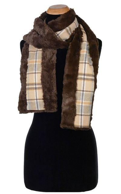 Classic Scarf - Wool Plaid in Daybreak with Cuddly Faux Fur in Chocolate Daybreak / Cuddly Chocolate Scarves Pandemonium Millinery