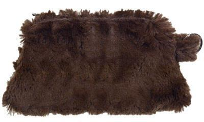 Coin Purse & Cosmetic Bag - Cuddly Faux Fur Cosmetic / Chocolate Handbag Pandemonium Millinery