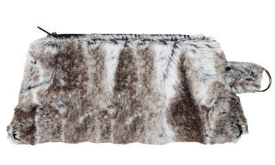 Coin Purse & Cosmetic Bag - Luxury Faux Fur in Birch