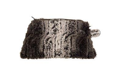 Coin Purse & Cosmetic Bag - Luxury Faux Fur in Chinchilla Brown (Chinchilla Black - Coin Only!)