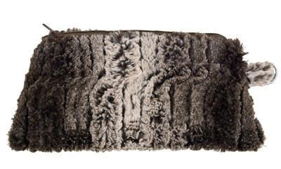 Coin Purse & Cosmetic Bag - Luxury Faux Fur in Chinchilla (Chinchilla Black - Coin Only!) Cosmetic / Chinchilla Brown Handbag Pandemonium Millinery