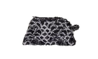 Coin Purse & Cosmetic Bag - Luxury Faux Fur in Snow Owl
