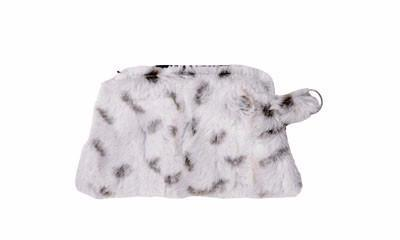 Coin Purse & Cosmetic Bag - Luxury Faux Fur in Winters Frost