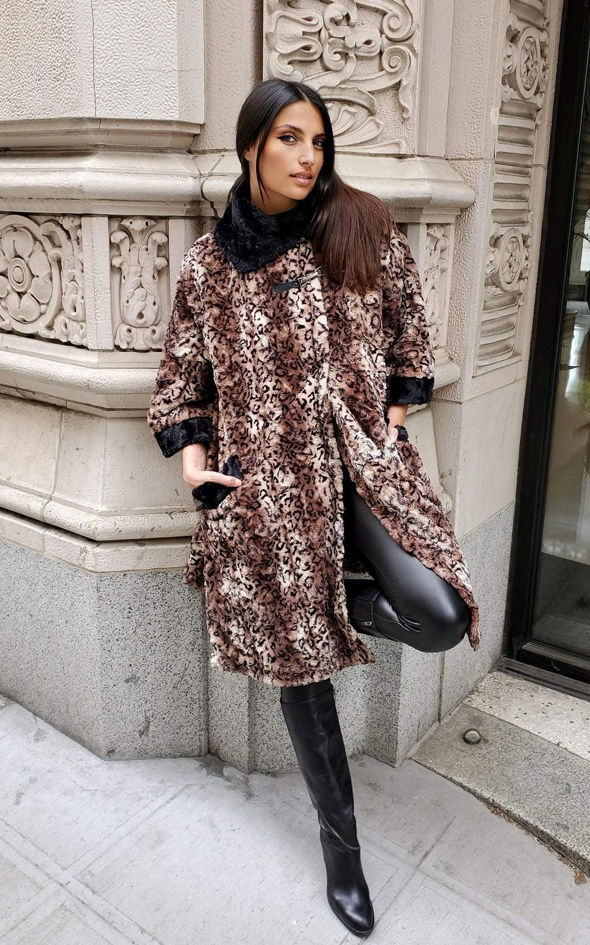 Crawford Coat - Luxury Faux Fur in Espresso Bean with Cuddly Fur in Black
