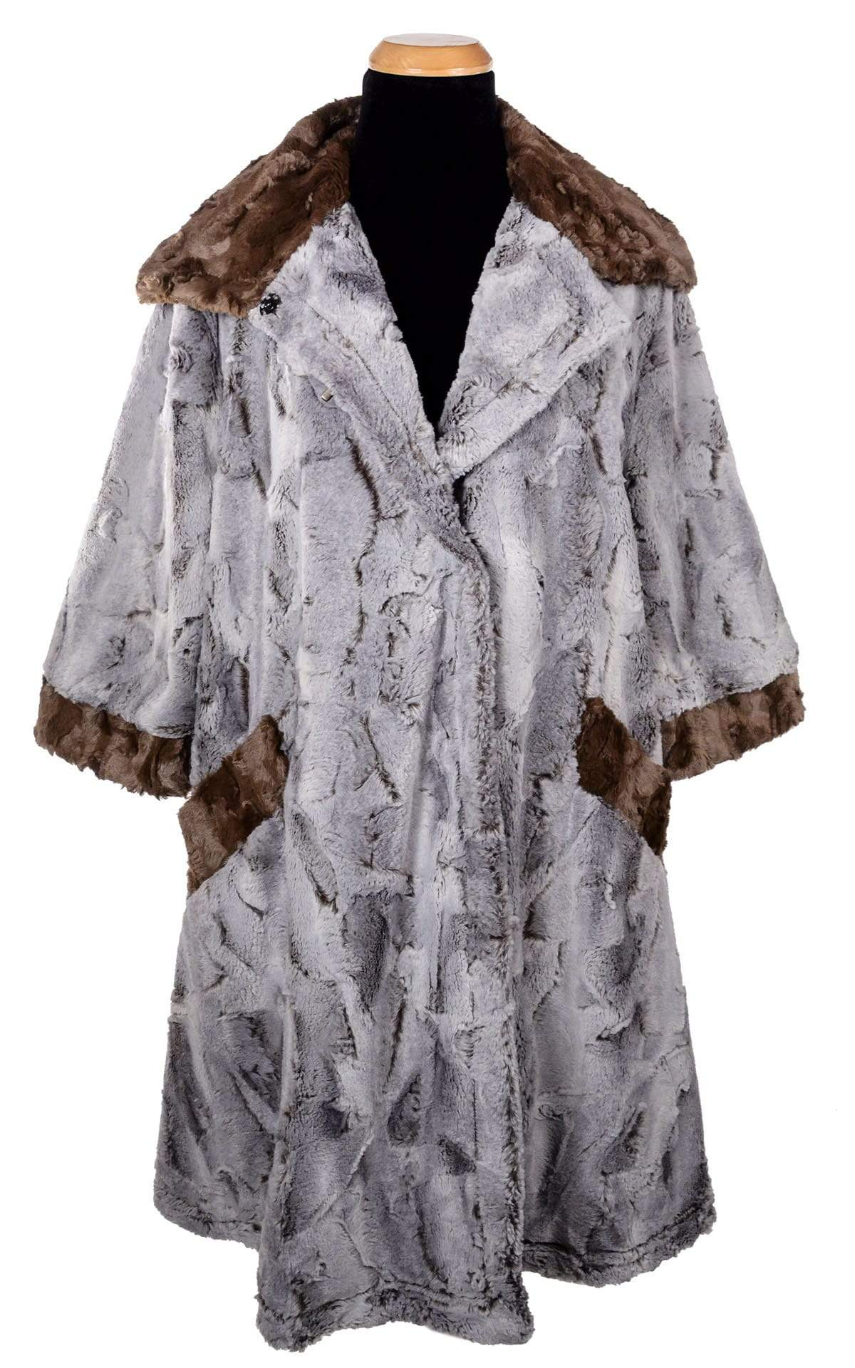 Crawford Coat - Luxury Faux Fur in Giant's Causeway with Cuddly Fur in Chocolate