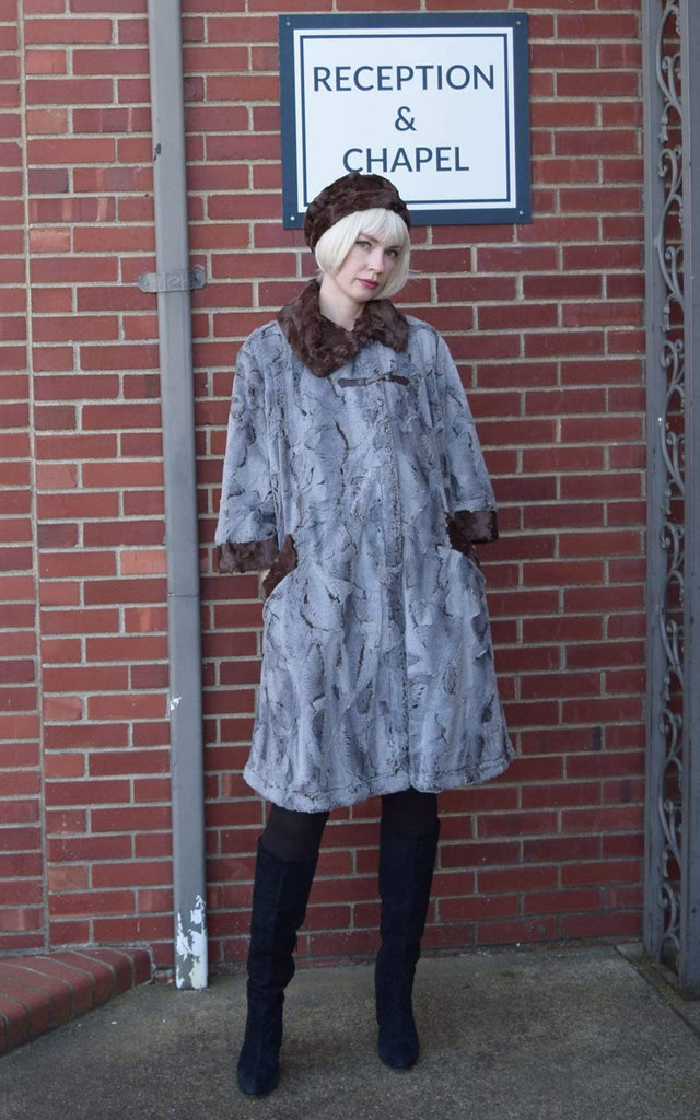 Pandemonium Millinery Crawford Swing Coat - Luxury Faux Fur in Giant's Causeway with Cuddly Fur in Chocolate Outerwear