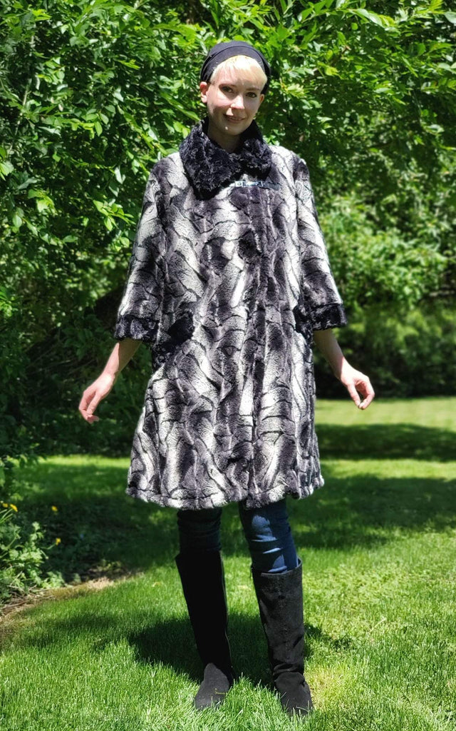 Pandemonium Millinery Crawford Swing Coat - Luxury Faux Fur in Honey Badger with Cuddly Fur Outerwear