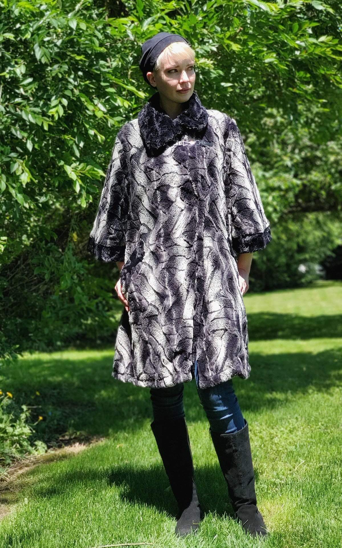 Crawford Coat - Luxury Faux Fur in Honey Badger with Cuddly Fur
