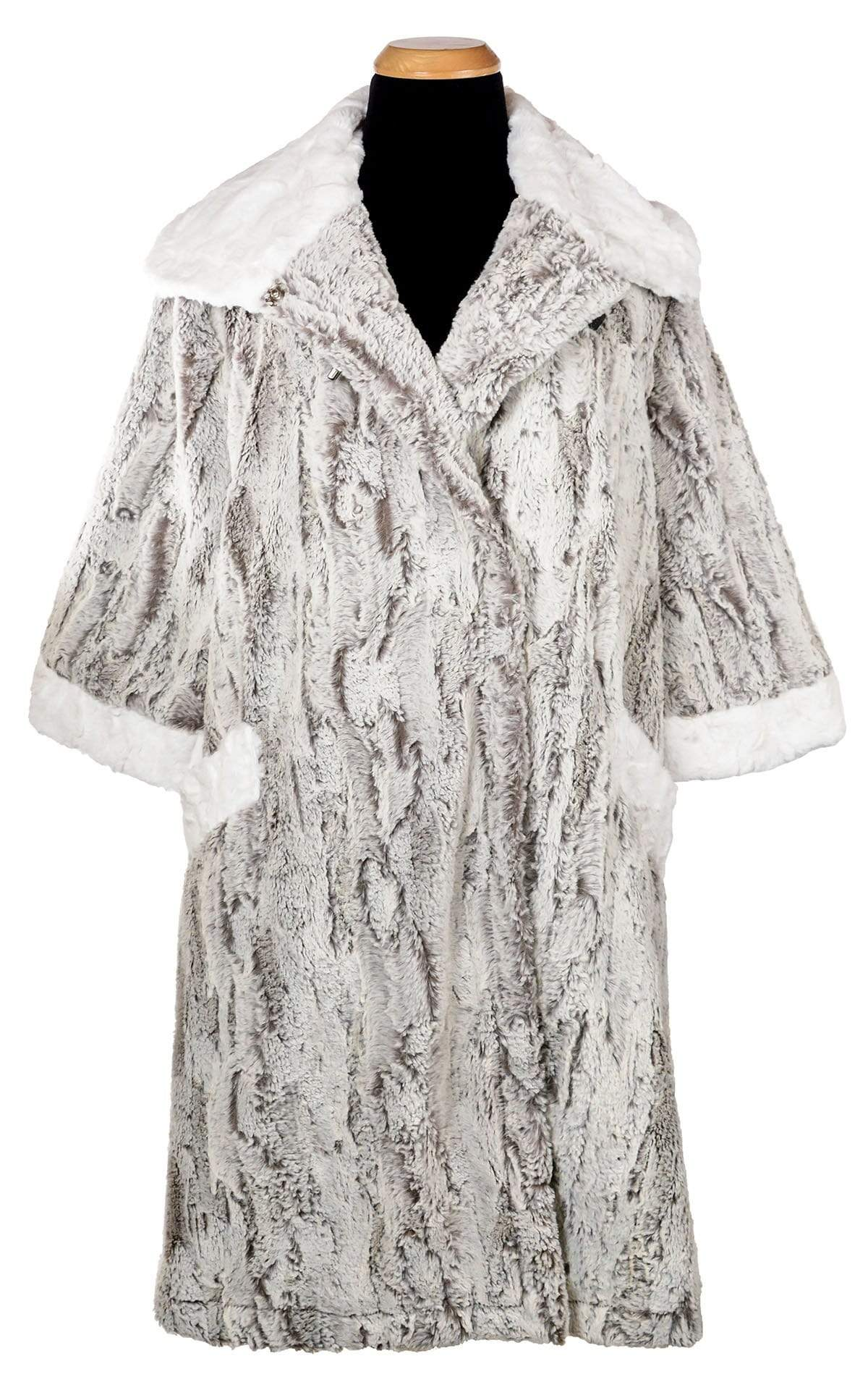 Crawford Coat - Luxury Faux Fur in Khaki with Cuddly Fur in Ivory