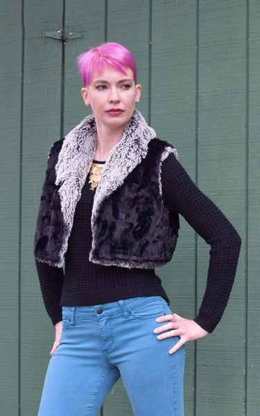 Pandemonium Millinery Crop Vest - Silver Tipped Fox Faux Fur in Black with Cuddly Faux Fur Outerwear