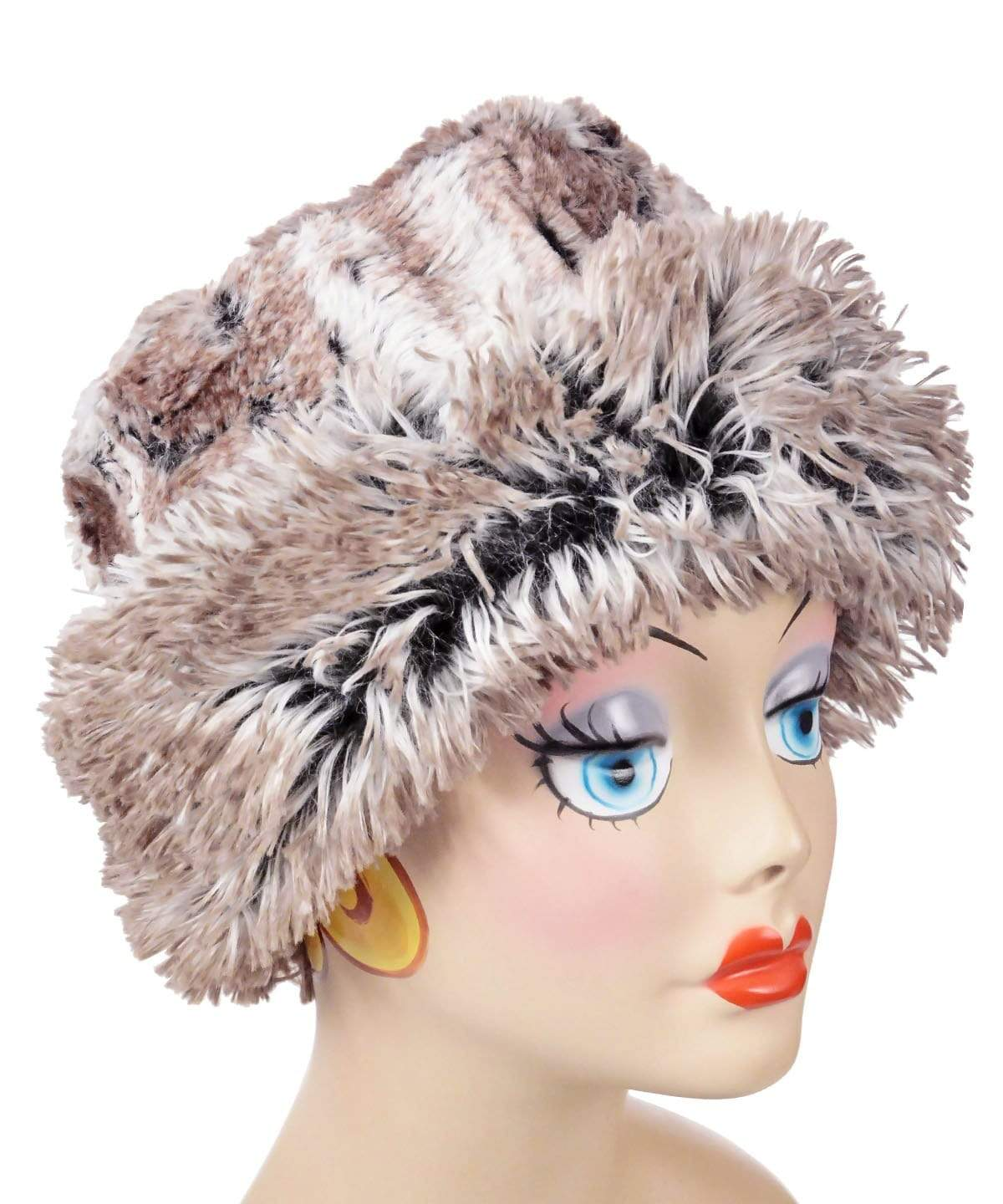Cuffed Pillbox, Reversible (Solid or Two-Tone) - Luxury Faux Fur in Birch