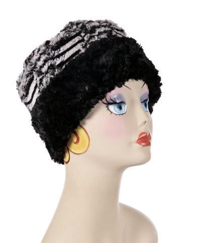 Cuffed Pillbox, Reversible (Solid or Two-Tone) - Luxury Faux Fur in Tipsy Zebra Medium / Tipsy Zebra / Black Hats Pandemonium Millinery