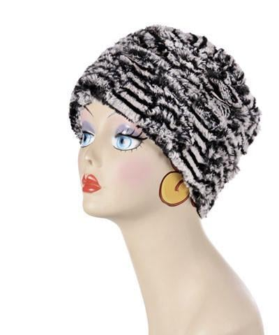 Cuffed Pillbox, Reversible (Solid or Two-Tone) - Luxury Faux Fur in Tipsy Zebra Medium / Tipsy Zebra - Solid Hats Pandemonium Millinery