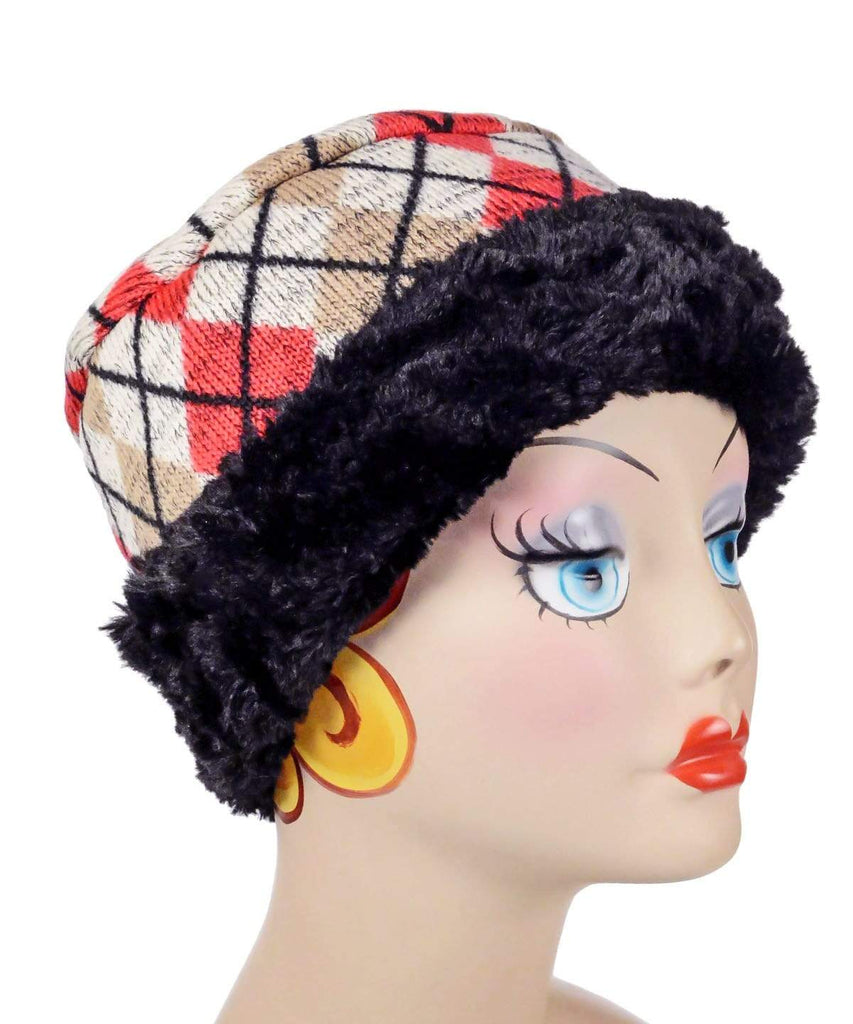 Pandemonium Millinery Cuffed Pillbox, Reversible (Two-Tone) - Argyle in Candied Apple with Cuddly Faux Fur (Only One Medium Available!) Medium / Argyle Candied Apple / Cuddly Black Hats