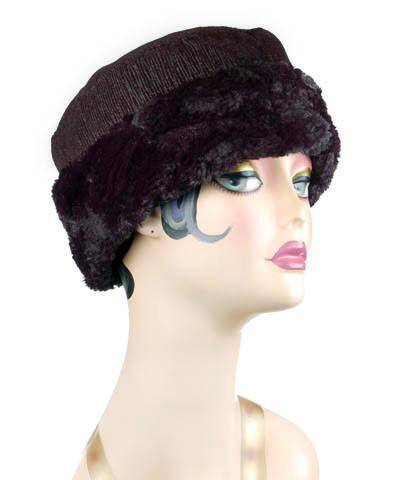 Cuffed Pillbox (Structured) -  Bongo in Black/Gray Upholstery with Cuddly Black Faux Fur Medium / Hat Only Hats Pandemonium Millinery