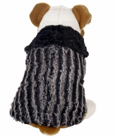 Dog Coat, Reversible - Desert Sand Faux Fur with Cuddly Fur in Black