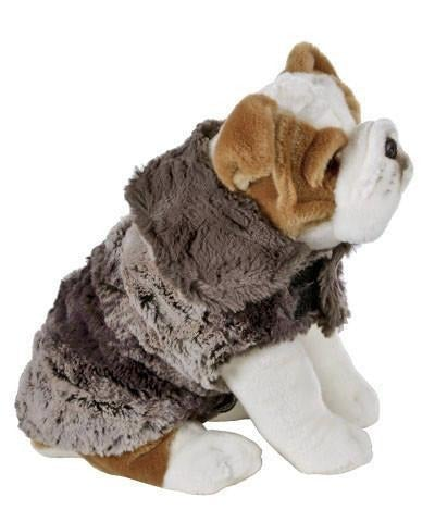 Dog Coat, Reversible - Luxury Faux Fur in Meerkat with Cuddly Fur in Gray (One XXXL Left!)