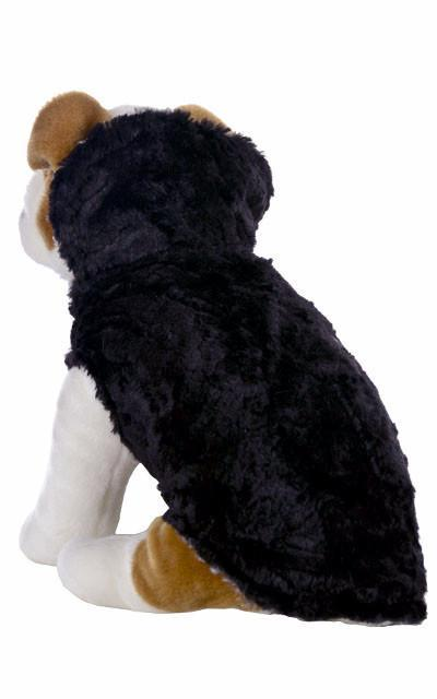 Dog Coat, Reversible - Luxury Faux Fur Snow Owl with Cuddly Fur in Black