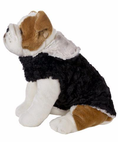 Dog Coat, Reversible - Luxury Faux Fur Winters Frost with Cuddly Faux Fur in Black